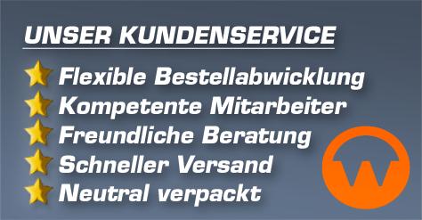 Unser Kundenservice: Flexible Bestellabwicklung | Kompetente Mitarbeiter | Freundliche Beratung | Schneller Versand | Neutral verpackt